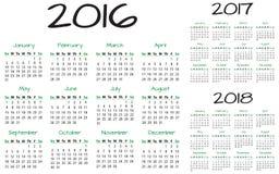 Engelsk vektor för kalender 2016-2017-2018 Arkivfoto