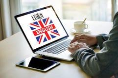 ENGELSKA (brittisk England språkutbildning) lär engelskt LAN Arkivbild