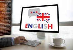 ENGELSKA (brittisk England språkutbildning) talar du engl Arkivfoton