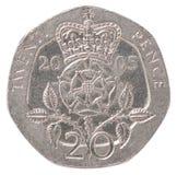 Engelska encentmynt mynt Royaltyfria Bilder