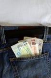 Engelska pengar i jeansfack Royaltyfri Fotografi