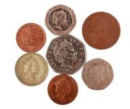 Engelska pengar på vit Royaltyfri Fotografi
