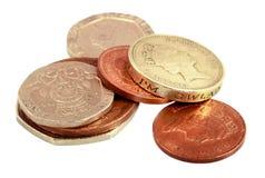 Engelska pengar på vit Fotografering för Bildbyråer