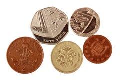 Engelska pengar på vit Arkivfoton
