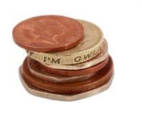 Engelska pengar på vit Arkivfoto