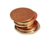Engelska pengar på vit Royaltyfri Foto