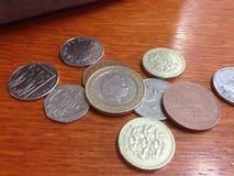 Engelska pengar, UK-mynt Arkivfoto