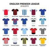 Engelska premier leaguesatser 2018 - 2019-, fotboll- eller fotbollärmlös tröjasymboler ställde in från England 18/19 satser Royaltyfria Foton