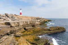 Engelska seglar utmed kusten fyren Portland Bill Isle av Portland Dorset England UK Arkivfoto