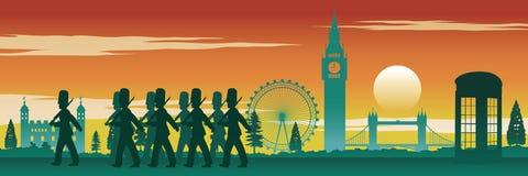 Engelska tjäna som soldat, den röda telefonasken, Big Ben och den berömda nollan för landfläck vektor illustrationer