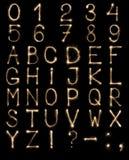 Engelskabokstäver från tomtebloss, alfabet och nummer på svart bakgrund Arkivfoto