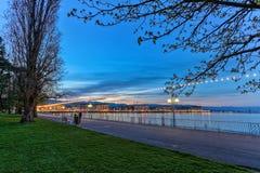 Engelskaträdgårdpromenad, Genève, Schweiz, HDR royaltyfria bilder