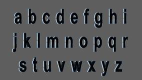 Engelskt alfabet, 3D liten stilsort, svart med metalliska sidor Isolerat enkelt att använda Arkivbild