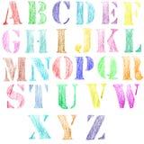 Engelskt alfabet, dragen hand Royaltyfria Foton