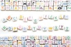 Engelskt alfabet för Abc på vit bakgrund Arkivbilder