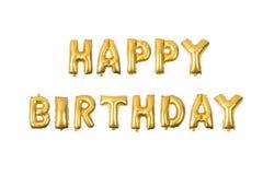Engelskt alfabet för lycklig födelsedag från gult guld- Royaltyfria Foton