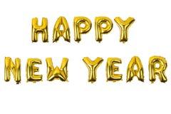 Engelskt alfabet för lyckligt nytt år från gult guld- Royaltyfri Fotografi