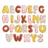 Engelskt alfabet för söt kaka, ätliga bageribokstäver i formen av den glasade kakavektorillustrationen på en vit royaltyfri illustrationer