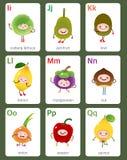 Engelskt alfabet för tryckbar flashcard från I till Q med frukter och royaltyfri illustrationer