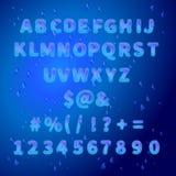 Engelskt alfabet för vatten med droppar av dagg Royaltyfria Bilder