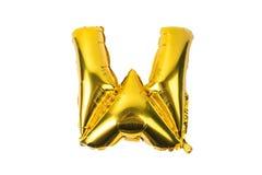 Engelskt alfabet från gula guld- ballonger på en vit Fotografering för Bildbyråer