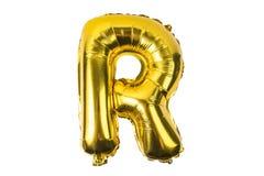 Engelskt alfabet från gula guld- ballonger på en vit Royaltyfri Foto