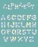 Engelskt alfabet från tecknad filmvattenfärgbokstäver med en modell För design av baner affischer, kort, tapeter, tryck royaltyfri illustrationer