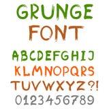 Engelskt alfabet i grungestil Arkivbild