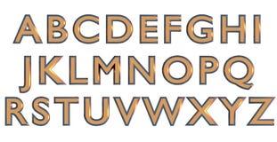 Engelskt alfabet i guld- stora bokstäver, beställnings- variant för stilsort 3D Arkivbild