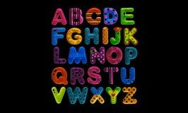 Engelskt alfabet på svart bakgrund Fotografering för Bildbyråer