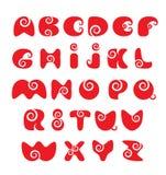 Engelskt alfabet - rött roligt röra sig i spiral tecknad film märker Arkivfoton