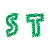 Engelskt alfabet som göras med gröna sidor, sommartema, bokstäver S T Royaltyfri Bild