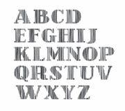 Engelskt alfabet, versal, vertikal skuggningsblyertspenna, simulering, vektor royaltyfri illustrationer