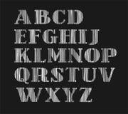 Engelskt alfabet, versalar, den vertikala skuggningen med en blyertspenna, simulering, vektor vektor illustrationer