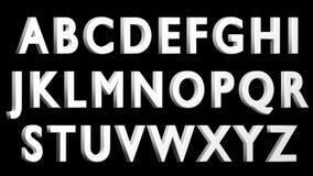 Engelskt alfabet, vit stilsort som 3D är uppercase Isolerat enkelt att använda BELÄGEN MITT EMOT HÖGER VERSION Arkivbilder