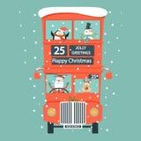 Engelskt kort för jul med dubbeldäckarebussen royaltyfri illustrationer