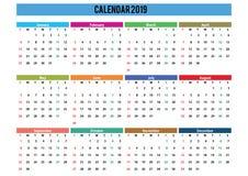 engelskt språk 2019 för kalenderlandskap royaltyfri fotografi
