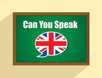 Engelskt språk på svart tavla Arkivbild