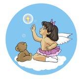 Engelsmädchen mit einem Teddybären und dem Stern vektor abbildung