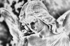 Engelsstatue (stilisierte Schwarzweiss-Zeichnung) Lizenzfreies Stockbild