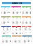 engelstalige de kalender van 2019 royalty-vrije stock afbeelding