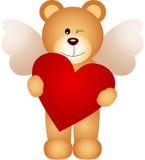 Engelsteddybär, der ein Herz hält stock abbildung