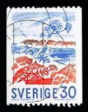 Engelwortelinstallatie op kust, Definitives serie, circa 1967 Royalty-vrije Stock Afbeeldingen
