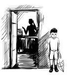 Engendre el día del ` s, día del ` de los padres - muchacho triste, esperando un negocio d Imagenes de archivo