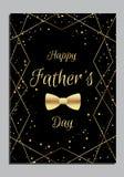 Engendre la tarjeta del día del ` s con la corbata de lazo de oro libre illustration