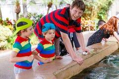 Engendre y dos muchachos del niño que alimentan rayos en una zona de recreo Imagenes de archivo