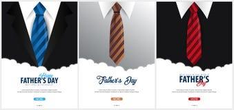 Engendrez la bannière de jour du ` s, carte de voeux avec la cravate Illustration de vecteur Image libre de droits