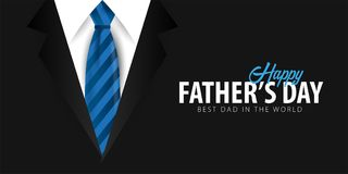 Engendrez la bannière de jour du ` s, carte de voeux avec la cravate Illustration de vecteur Images stock