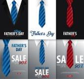 Engendrez la bannière de vente de jour du ` s, carte de voeux avec la cravate Illustration de vecteur Photos libres de droits