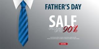 Engendrez la bannière de vente de jour du ` s, carte de voeux avec la cravate Illustration de vecteur Photos stock